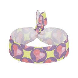 Purple heart hair tie / purple, yellow, red