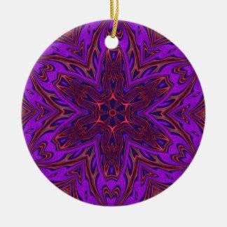 Purple Heart Kaleidoscope Design Ceramic Ornament