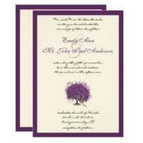 Purple Heart Leaf Tree Borders Wedding Invite