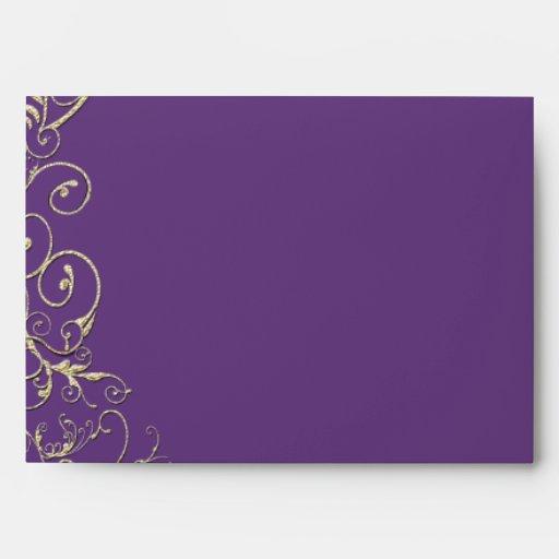 Purple heart leaf tree gold swirl wedding envelope zazzle