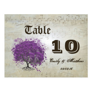 Purple Heart Leaf Tree Table Number Postcard