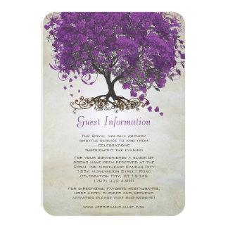 "Purple Heart Leaf Tree Wedding Information Card 3.5"" X 5"" Invitation Card"