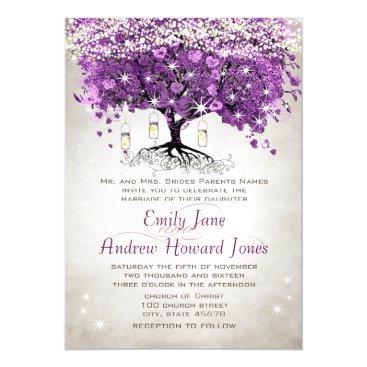Wedding Themed Purple Heart Leaf Tree Wedding Invitations