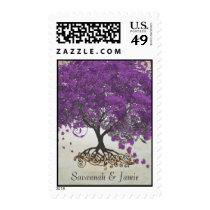 Purple Heart Leaf Tree Wedding Postage