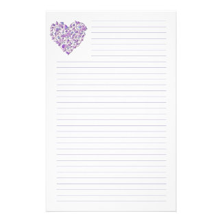 Purple Heart Lined Stationery  Free Lined Stationery Templates