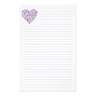 Valentines Themed Purple Heart Lined Stationery