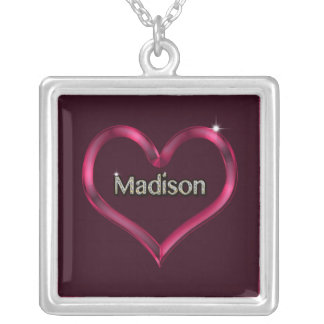 Purple Heart Madison Silver Plated SquareNecklace Square Pendant Necklace