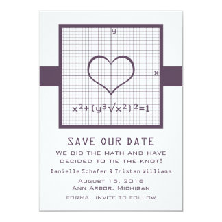 Purple Heart Math Graph Save the Date Invite