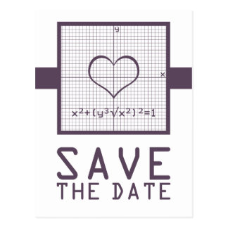 Purple Heart Math Graph Save the Date Postcard
