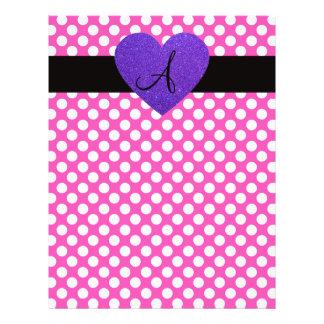 "Purple Heart monogram polka dots 8.5"" X 11"" Flyer"