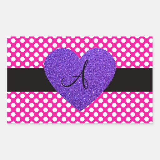 Purple Heart monogram polka dots Rectangular Sticker