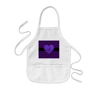 Purple heart monogram roses apron