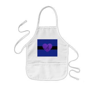 Purple heart monogram roses blue aprons