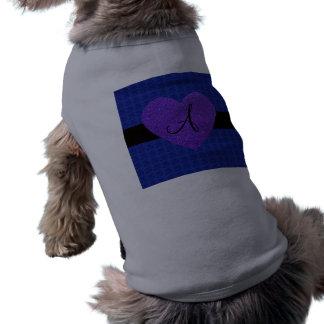 Purple heart monogram roses blue dog tee