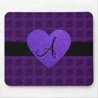 Purple heart monogram roses mouse pad