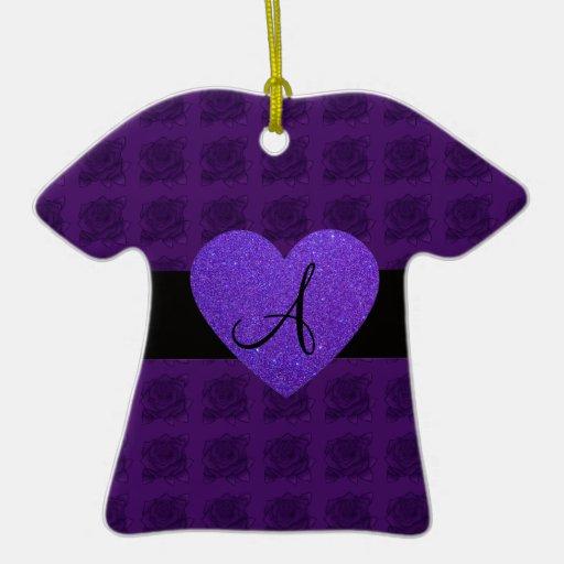 Purple heart monogram roses Double-Sided T-Shirt ceramic christmas ornament