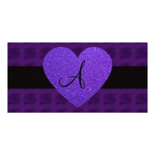 Purple heart monogram roses photo card template