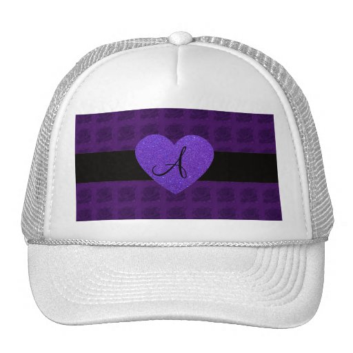 Purple heart monogram roses trucker hat