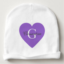 Purple Heart Name Initial Monogram Baby Beanie