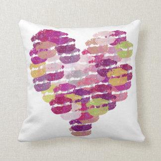 Purple Heart of Kisses Lips Throw Pillow