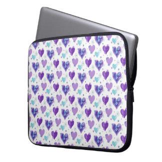 Purple Heart Pattern Laptop Sleeve