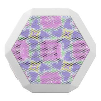 purple heart pattern personalizable white bluetooth speaker
