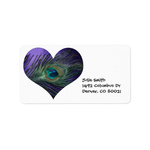 Purple Heart Peacock Feather Address Label