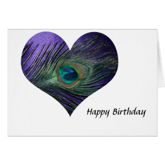 Purple Heart Peacock Feather Card