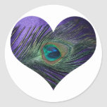 Purple Heart Peacock Feather Stickers