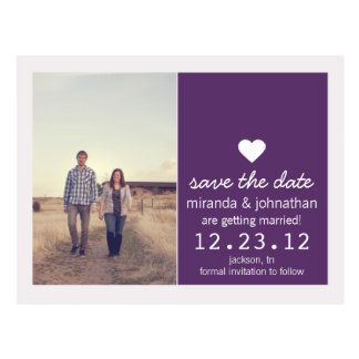 Purple Heart Photo Save The Date Post Cards