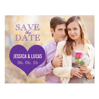 PURPLE HEART PHOTO SAVE THE DATE POSTCARD
