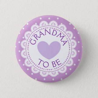 Purple  Heart  Polka Dot Grandma to Be Button