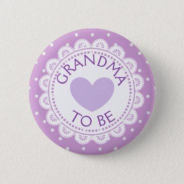 Valentines Themed Purple  Heart  Polka Dot Grandma to Be Button