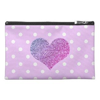 Purple Heart & Polkadots Travel Accessory Bag