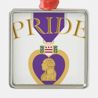 Purple Heart Pride Metal Ornament