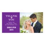 Purple Heart que casa la foto le agradece las tarj Tarjetas Personales Con Fotos