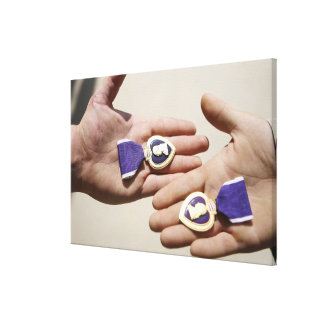 Purple Heart recipients display their medals Canvas Print