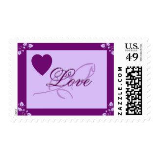 Purple Heart Rose Love 1med Stamp