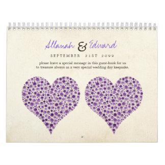 Purple Heart Roses Wedding Guest Sign Book Wall Calendar