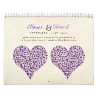 Purple Heart Roses Wedding Guest Sign Book Calendar