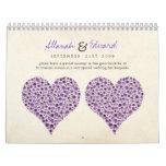 Purple Heart Roses Wedding Guest Sign Book Calendar