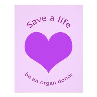 Purple heart save a life organ donation flyer