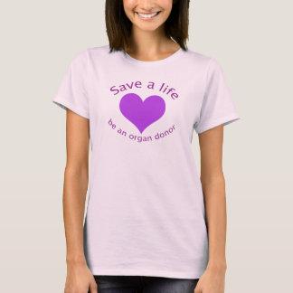 Purple heart save a life organ donation t-shirt