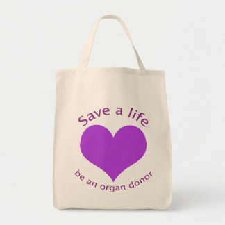 Purple heart save a life organ donation tote bag