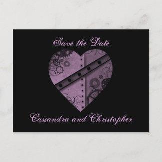 Purple heart save the date wedding announcement postcard