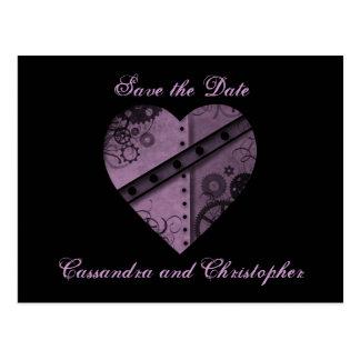 Purple heart save the date wedding postcard