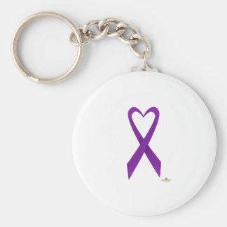 Purple Heart Shaped Awareness Ribbon Keychain