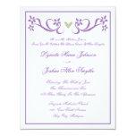 "Purple Heart Simple Accent Wedding Invitations 4.25"" X 5.5"" Invitation Card"