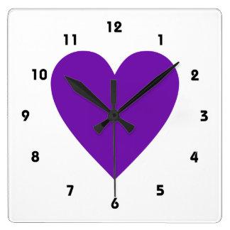 Purple Heart Square Wall Clock