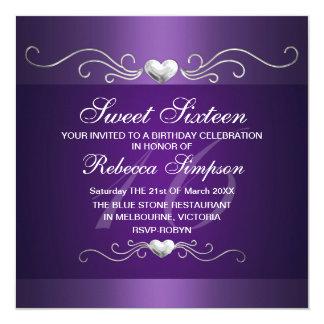 Purple Heart Sweet Sixteen Birthday Invitation